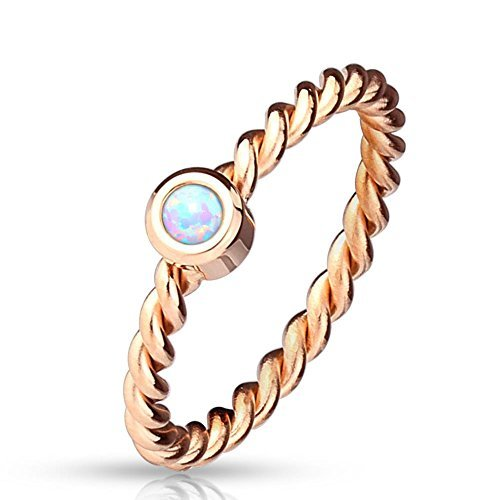 41R+YeDJUcL - Paula & Fritz® Ring aus Edelstahl Chirurgenstahl 316L rosévergoldet Kordelmuster mit eingefasstem Opal 57 (18)