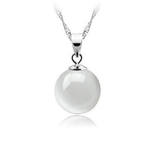 925 Silber Halskette mit Anhänger aus Opalit-Mondstein