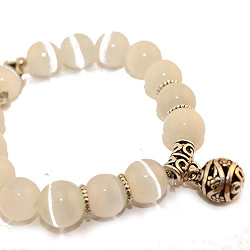 natur mondstein armband mit silber versilbert charme fuer frauen versilbert - Natur Mondstein-Armband mit Silber versilbert Charme für Frauen versilbert