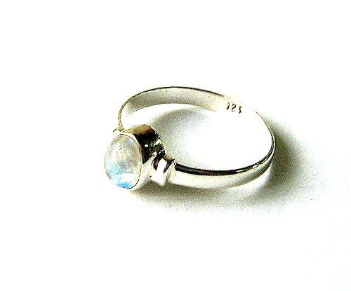 Shanya Ring handgearbeitet Sterling Silber Regenbogen Mondstein